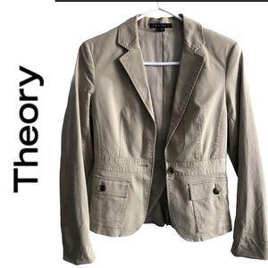 THEORY cotton lightweight lined jacket blazer sz 6